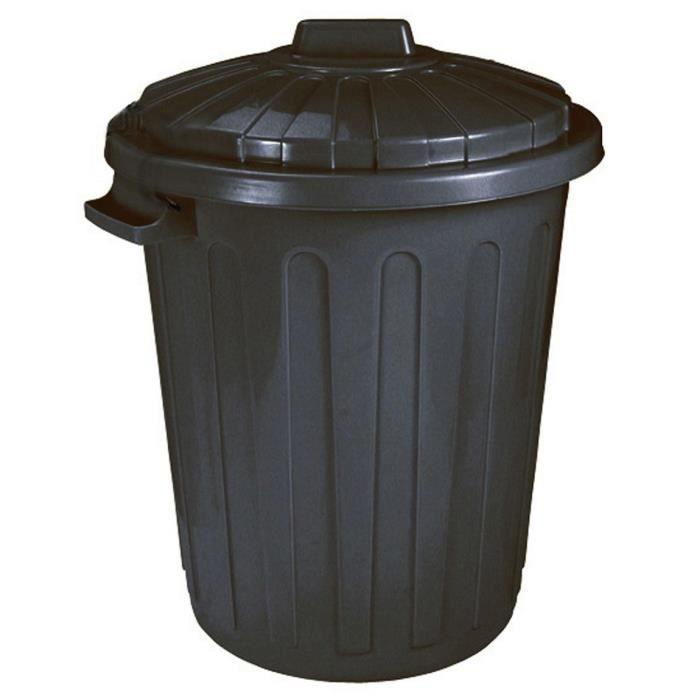 poubelle de rue en polypropyl ne 70l noire achat vente poubelle corbeille poubelle de rue. Black Bedroom Furniture Sets. Home Design Ideas