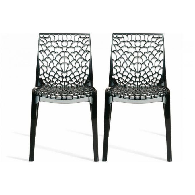 Lot de 2 chaises fum es transparentes gruyer achat for Soldes chaises transparentes