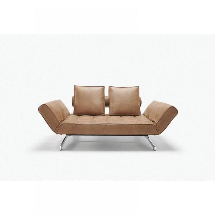 Canap lit ghia marron faunal achat vente canap sofa divan cdisc - Canape lit cdiscount ...