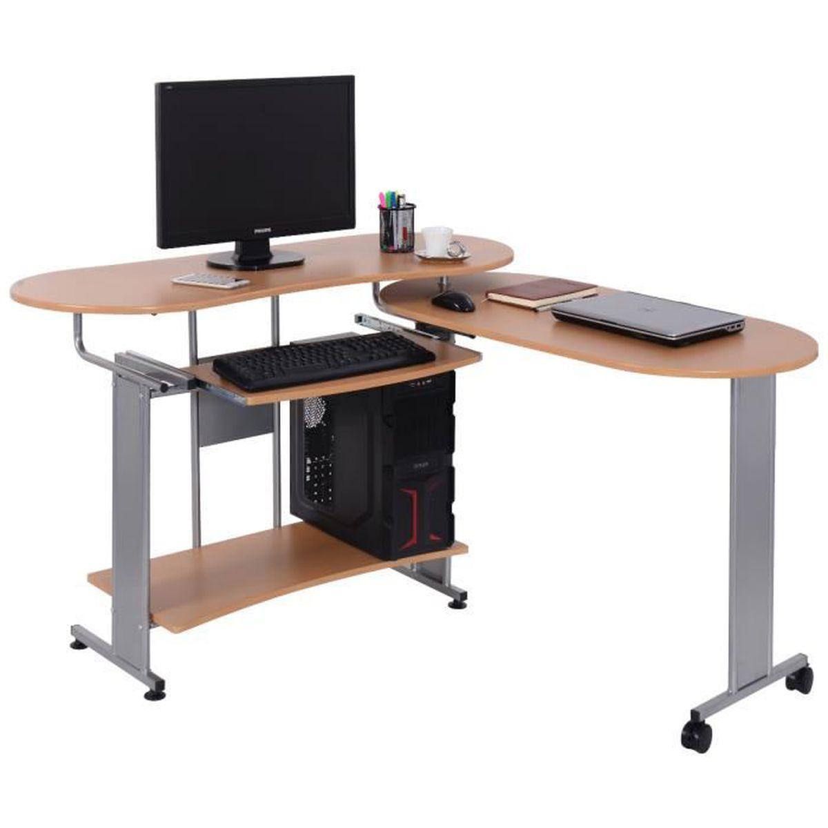 Bureau informatique table d ordinateur pour bureau pc coin - Table pour pc de bureau ...