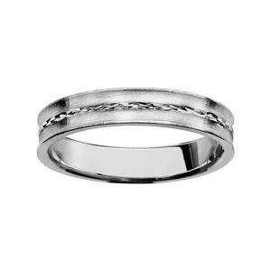 BAGUE - ANNEAU Bague Alliance Argent 925 Diamantée Brossée 4 mm