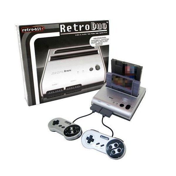 console retro duo silver nes super nes nintendo achat vente console r tro console retro duo. Black Bedroom Furniture Sets. Home Design Ideas