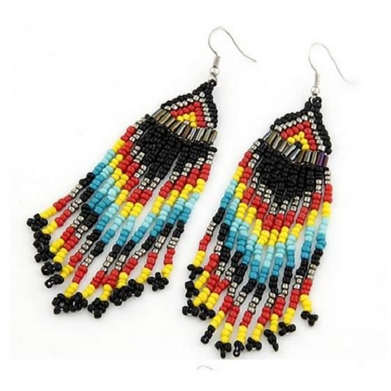 boucles d 39 oreilles perles indiennes hippie chic achat vente boucle d 39 oreille boucles d. Black Bedroom Furniture Sets. Home Design Ideas