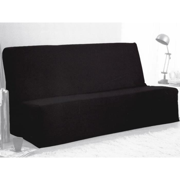 Housse clic clac 100 coton noir achat vente housse de canap soldes - Housse clic clac noire ...