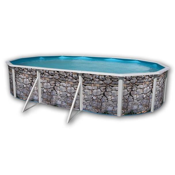 Pierre grise piscine en acier ovale 640x366x120 achat for Piscine acier grise