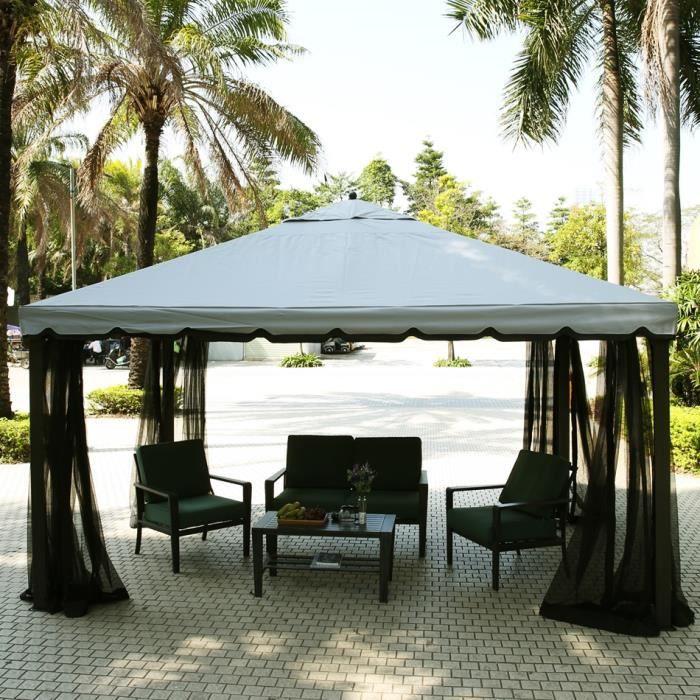 Tonnelle gazebo terrasse f te avec tente moustiquaire - Tonnelle avec moustiquaire ...