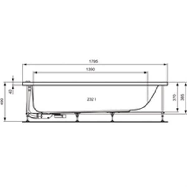 Ideal standard baignoire encastrer ou poser connect en acrylique 180x80cm avec trop plein for Baignoire resine ou acrylique
