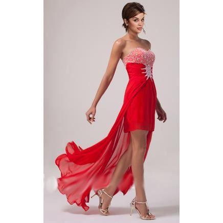 robe de soir e rouge asymetrique rouge achat vente robe de c r monie cdiscount. Black Bedroom Furniture Sets. Home Design Ideas