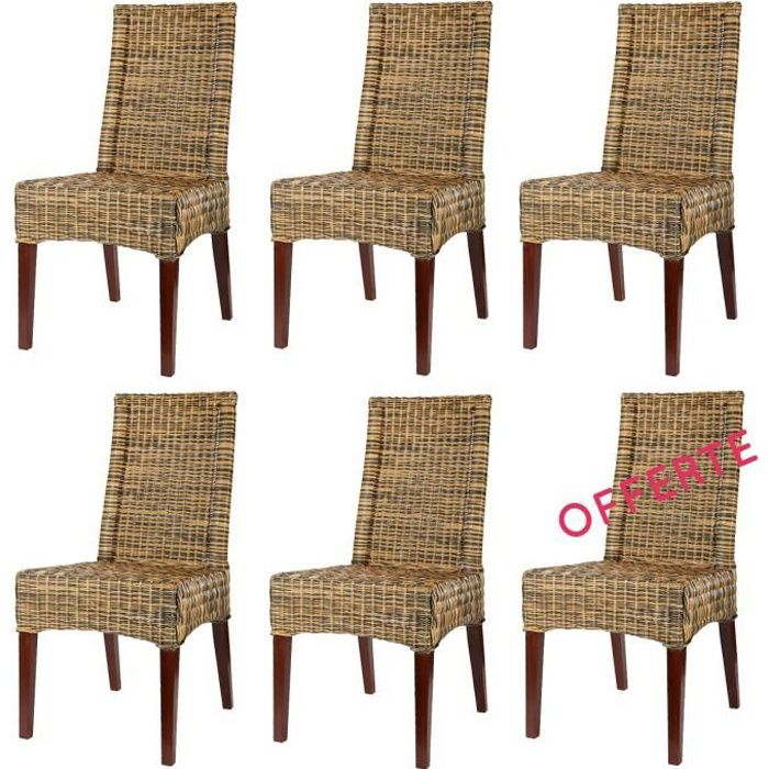 Lot 6 chaises desna rotin achat vente chaise rotin for Lot 6 chaises noires