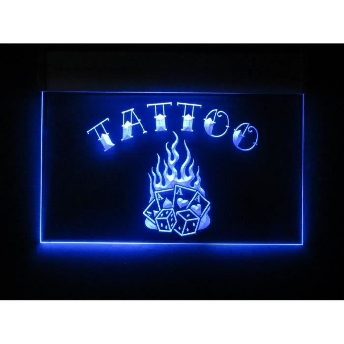Verre publicitaire tattoo flame neon bleu d co usa achat for Decoration murale neon