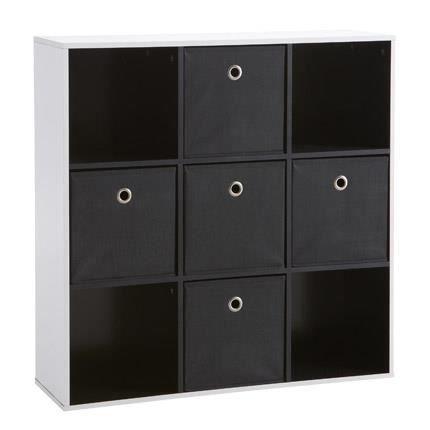 Rangement 9 cases dont 5 tiroirs coloris blanc et noir for Petit meuble 5 tiroirs