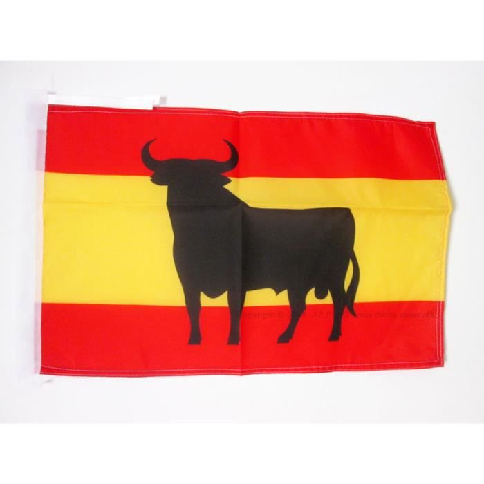Drapeau espagne avec taureau 45x30cm espagnol haute for Decoration espagnol
