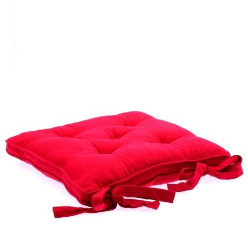 Galette chaise 5 boutons framboise achat vente coussin - Coussin galette chaise ...