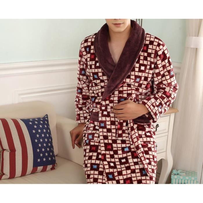 Robe de chambre polaire homme marron carr s achat vente peignoir cdiscount - Achat robe de chambre homme ...