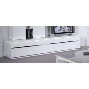 Buzz meuble tv clairage 220 cm blanc achat vente for Banc tv blanc