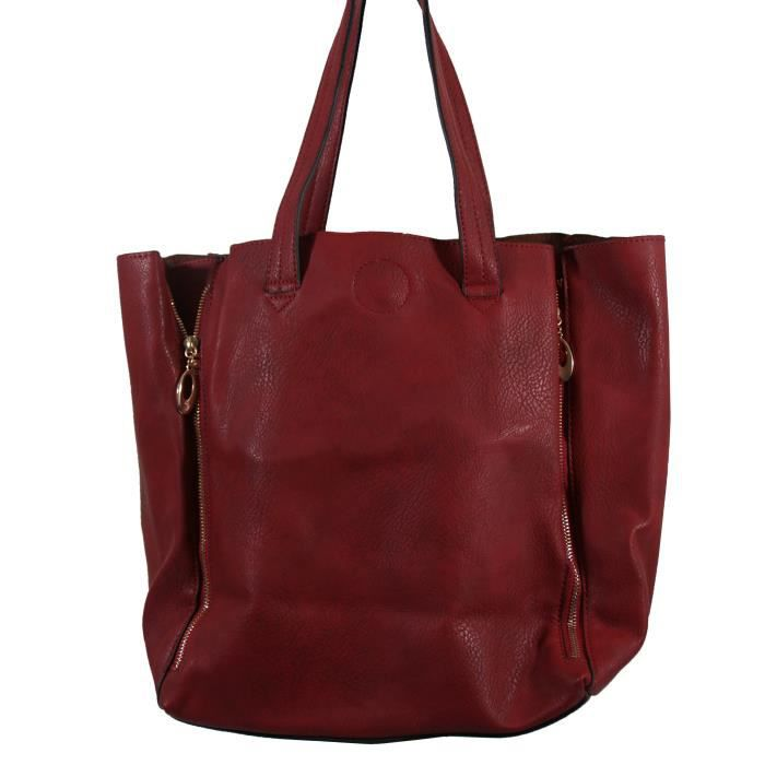 sac main rouge bordeaux simili cuir avec fermetu achat vente sac main rouge bordeaux s. Black Bedroom Furniture Sets. Home Design Ideas