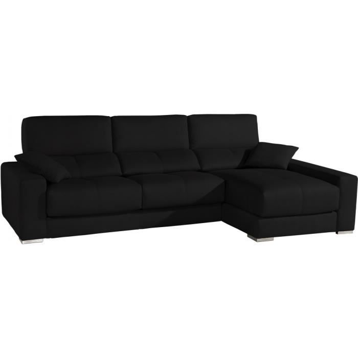 Canap d 39 angle cuir noir relax t ti res r glabl achat for Canape d angle noir cuir