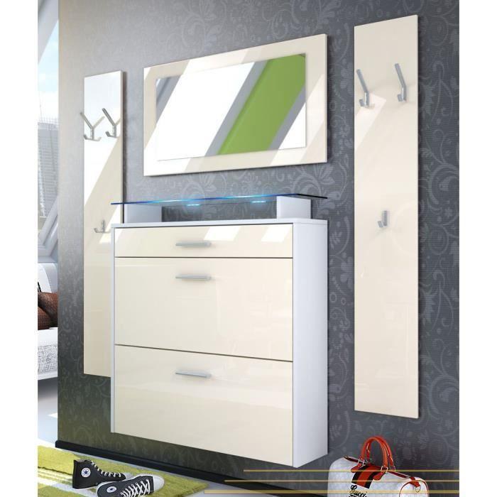 vestiaire blanc et cr me 89 cm achat vente meuble d. Black Bedroom Furniture Sets. Home Design Ideas