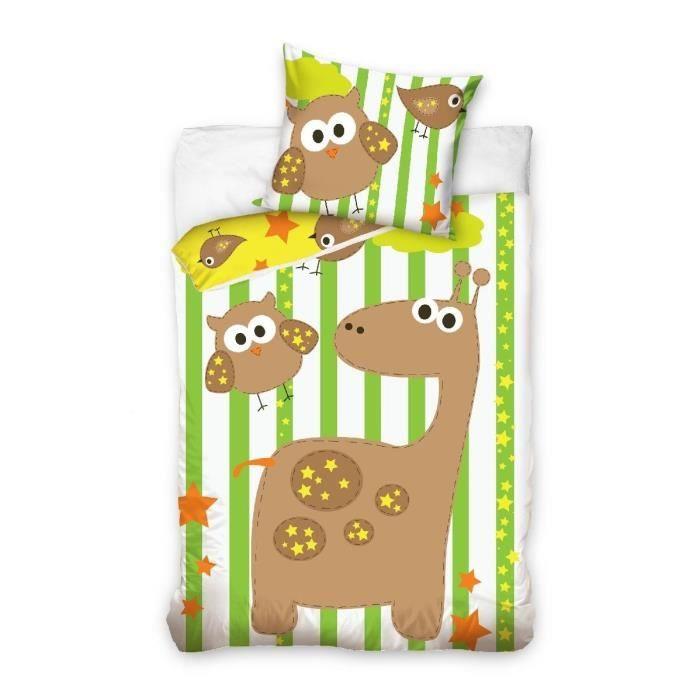 Girafe et hibou parure linge de lit housse de couette for Parure de lit hibou