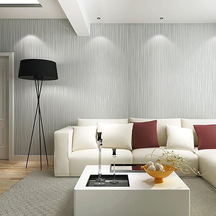 Kinlo 100m papier peint 3d rayure gris en intiss - Salon peint en gris ...