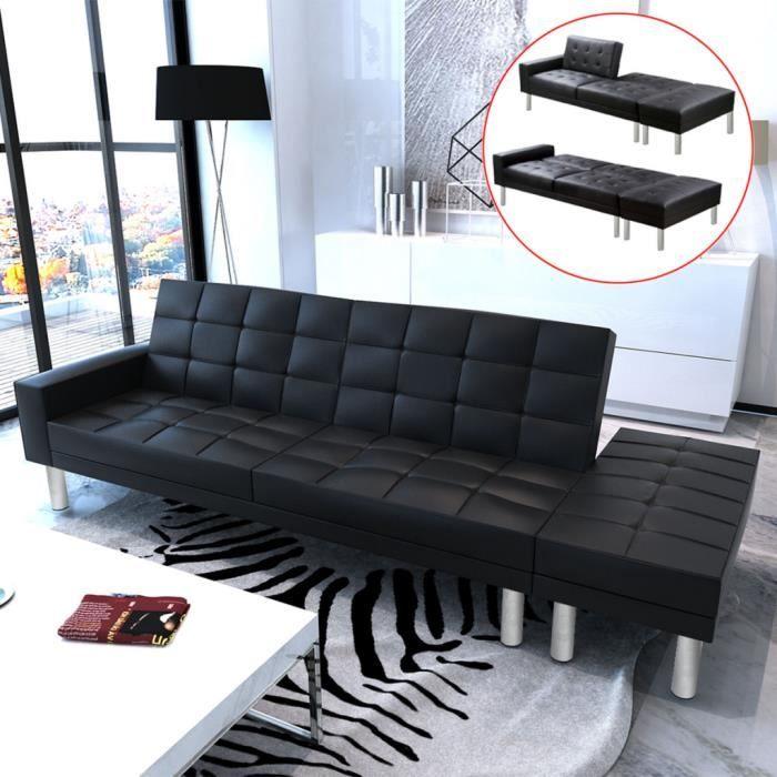 Canap convertible modulable en cuir artificiel noir achat vente canap - Canape modulable en cuir ...