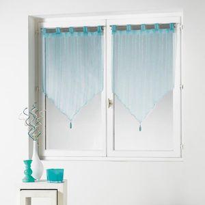 rideaux 60 x 160 cm bleu achat vente rideaux 60 x 160 cm bleu pas cher cdiscount. Black Bedroom Furniture Sets. Home Design Ideas