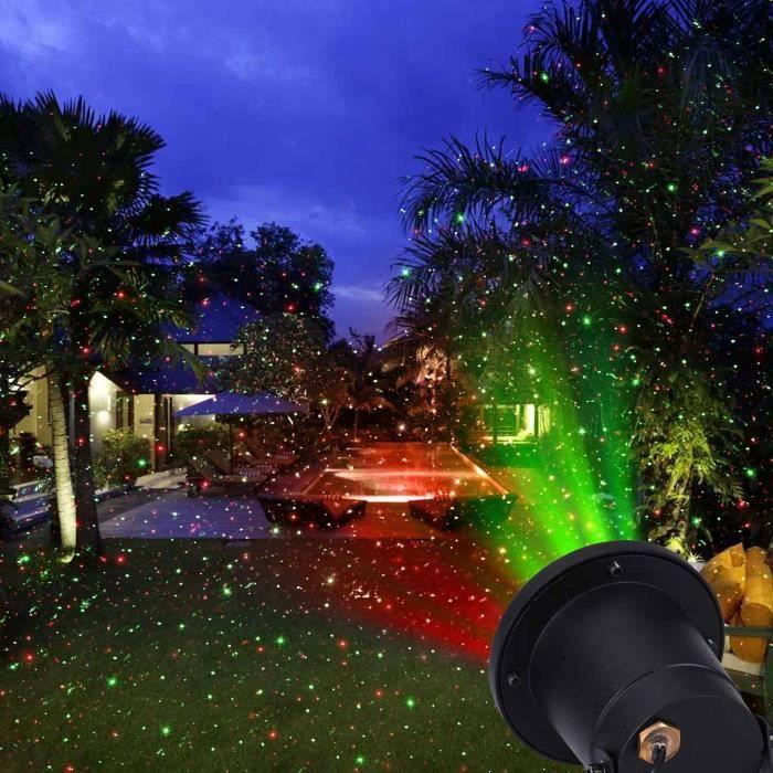Jardin patio lampe tanche rouge vert laser mousseux projecteur night lights noir en aluminium for Projecteur laser jardin