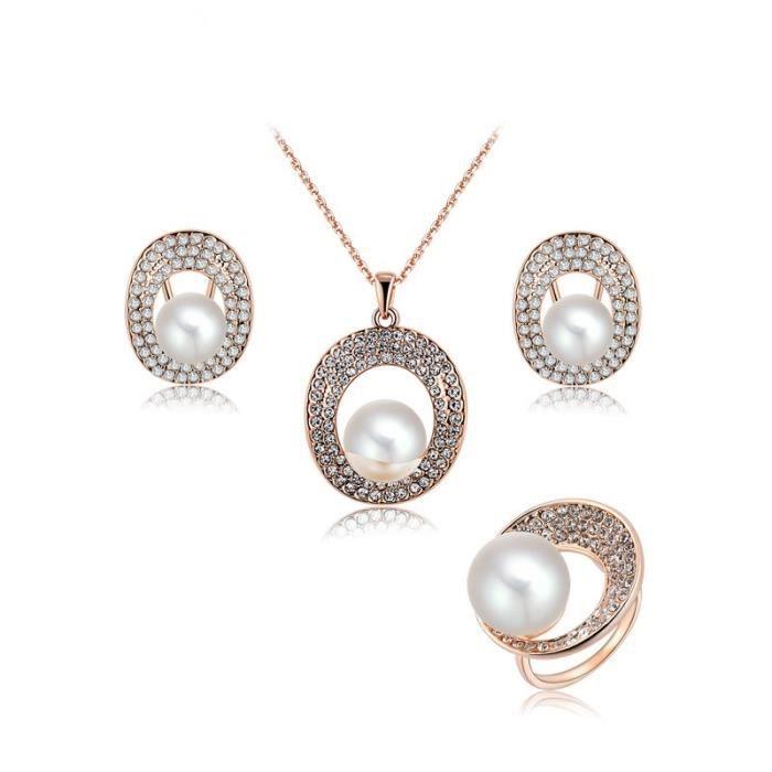 parure bijoux femme 4 pcs plaqu or ros avec perle et autrichien crista comme image achat. Black Bedroom Furniture Sets. Home Design Ideas