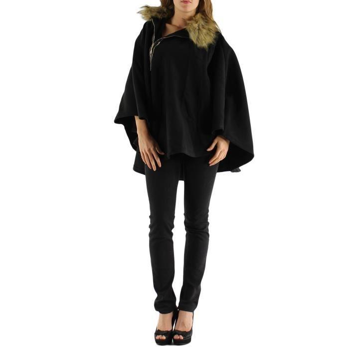 Manteau cape poncho femme noir col fourrure t u noir achat vente manteau caban - Poncho femme noir ...