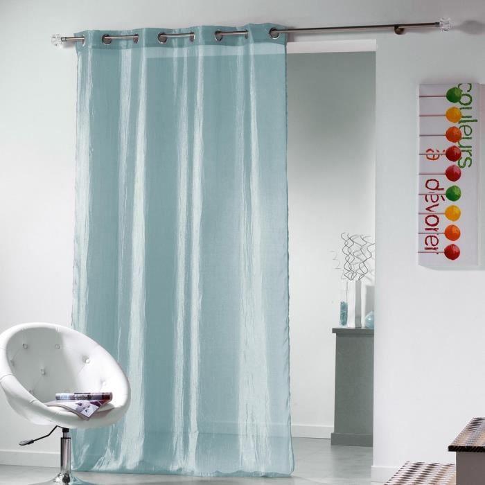 voilage brillant effet froiss plisso bleu ciel 140x260 cm achat vente voilage cdiscount. Black Bedroom Furniture Sets. Home Design Ideas