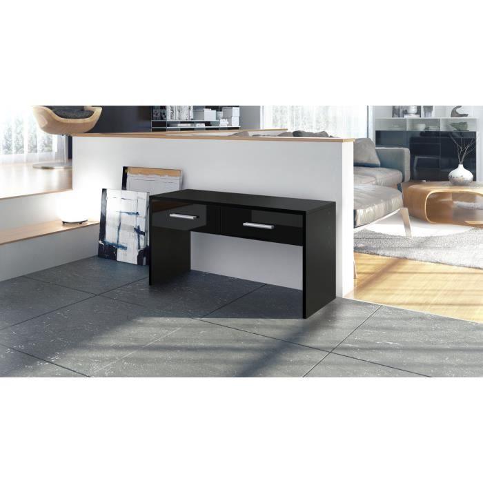 console noire avec 2 tiroirs 90 cm achat vente console. Black Bedroom Furniture Sets. Home Design Ideas