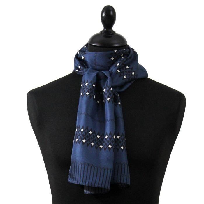 19fd1a821dd2 Echarpe,foulard homme. Noir 脿 grands motifs. Soie m茅lang茅e foulard en soie  homme pas cher,Touche Finale Foulard Ascot 脿 nouer ...