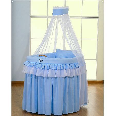 Berceau b b en osier complet avec textile bleu achat vente berceau et su - Cdiscount berceau bebe ...