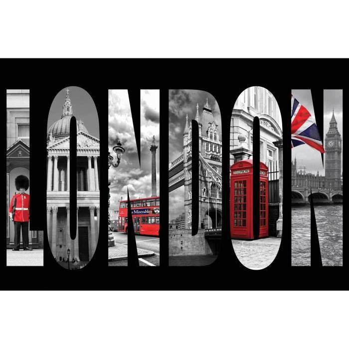 London en lettres tableau d co sur glassart 40x60 achat for Tableau londres noir et blanc