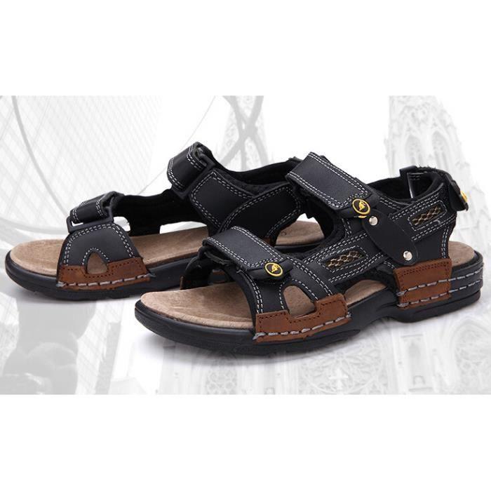 enfant gar on sports cuir sandales chaussures noir noir tu. Black Bedroom Furniture Sets. Home Design Ideas