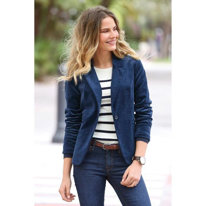 veste blazer en velours femme bleu achat vente veste soldes cdiscount. Black Bedroom Furniture Sets. Home Design Ideas