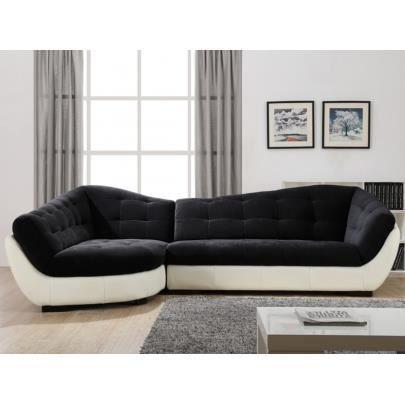 Canap d 39 angle tissu et cuir leandro noir et bla achat vente canap - Canape cuir et tissu ...