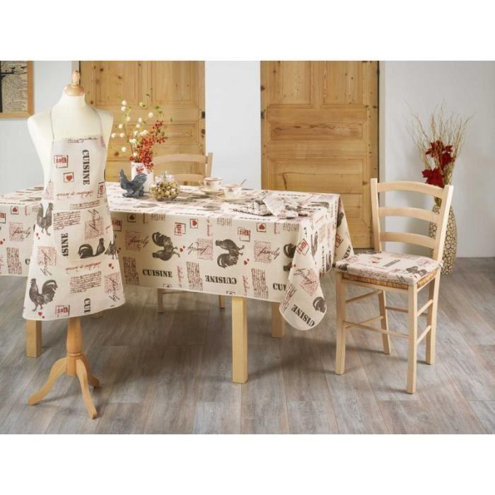 nappe en tissu polycoton 140x240 cm fermette coq achat vente nappe de table cdiscount. Black Bedroom Furniture Sets. Home Design Ideas