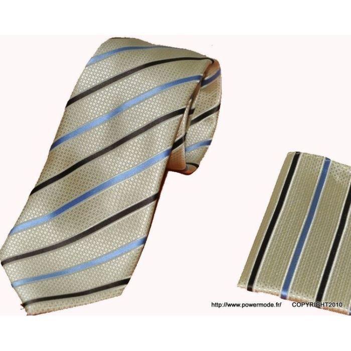 Cravate Beige Ray Marron Et Bleu Achat Vente Cravate N Ud Papillon Cravate Beige Ray