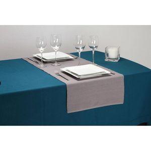 Chemin de table côtelé - L. 150 cm - Gris