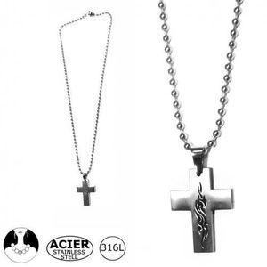SAUTOIR ET COLLIER Collier Acier Argenté Croix