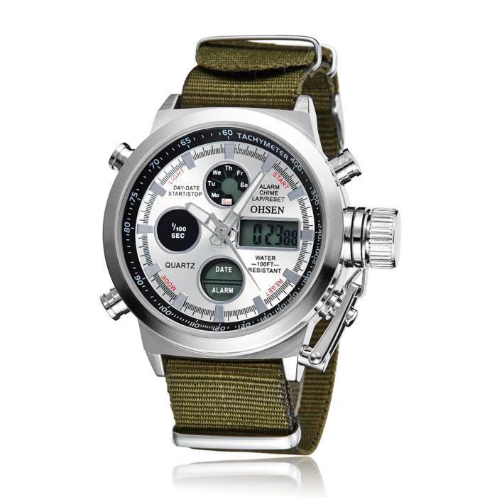montres homme bracelet en tissu quartz movement tanche achat vente montre montres homme. Black Bedroom Furniture Sets. Home Design Ideas