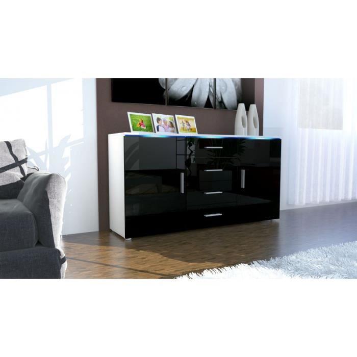 buffet laqu blanc et noir avec led 139 cm achat vente. Black Bedroom Furniture Sets. Home Design Ideas