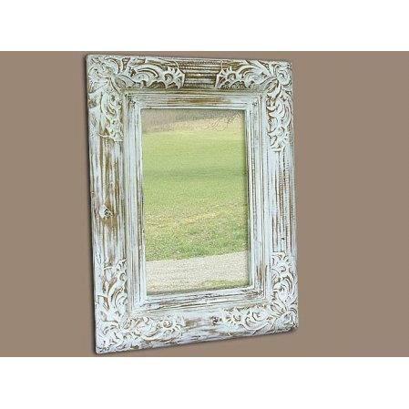 Miroir valence en bois patin blanc 60 x 80 c rus achat for Miroir 60 cm de large