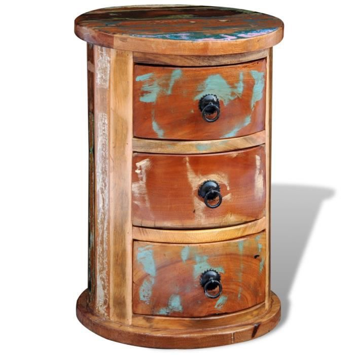 etag re ronde en bois recycl achat vente meuble tag re etag re ronde en bois cdiscount. Black Bedroom Furniture Sets. Home Design Ideas