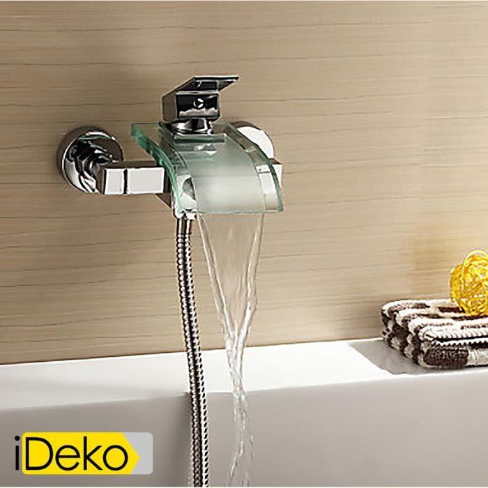 ideko robinet mitigeur de baignoire bec d 39 ecoulement en verre fixation murale achat. Black Bedroom Furniture Sets. Home Design Ideas