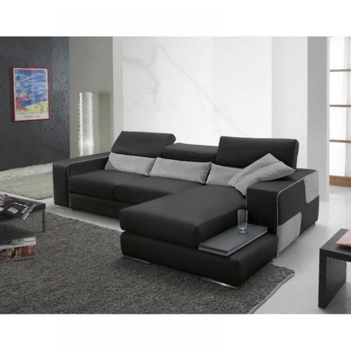 domino canap cuir vachette couleur noir coussi achat vente canap sofa divan cdiscount. Black Bedroom Furniture Sets. Home Design Ideas
