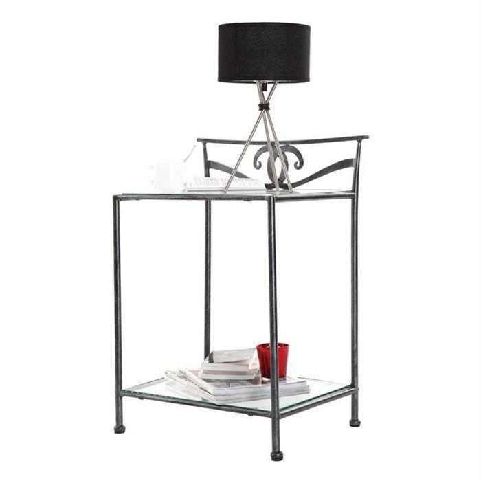 Table de nuit baroque noire m tal venezia achat vente - Table de chevet en fer forge noir ...