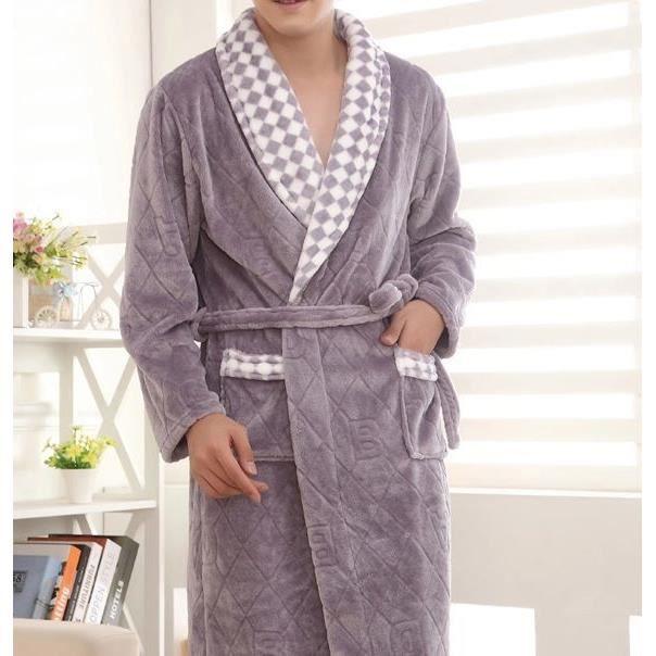 Robe de chambre polaire homme grise damier achat vente robe de chambre cdiscount - Achat robe de chambre homme ...