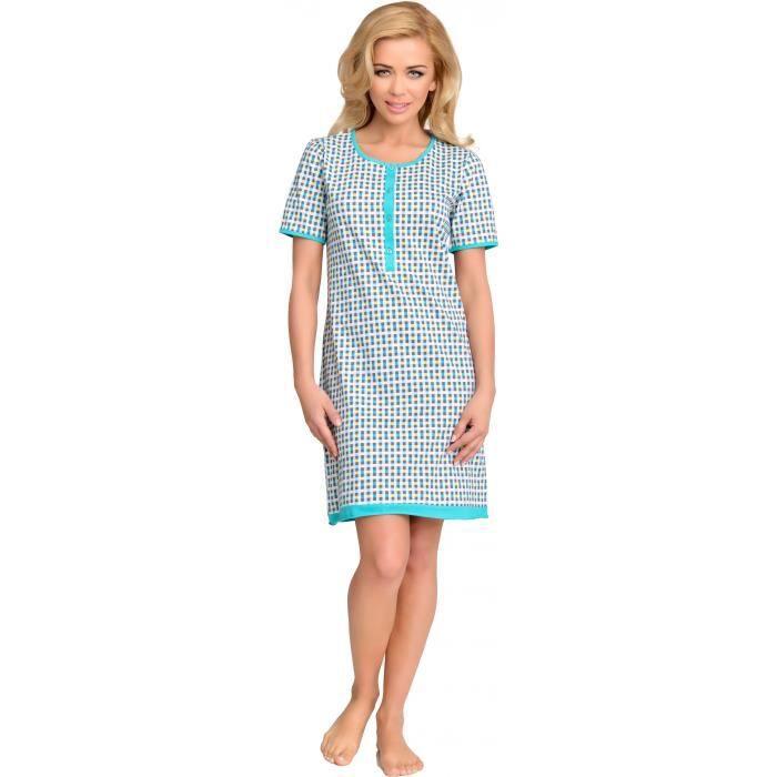 be mammy femme allaitement chemise de nuit stel blanc bleu achat vente chemise de nuit. Black Bedroom Furniture Sets. Home Design Ideas